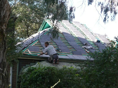 Slate roof replacement before